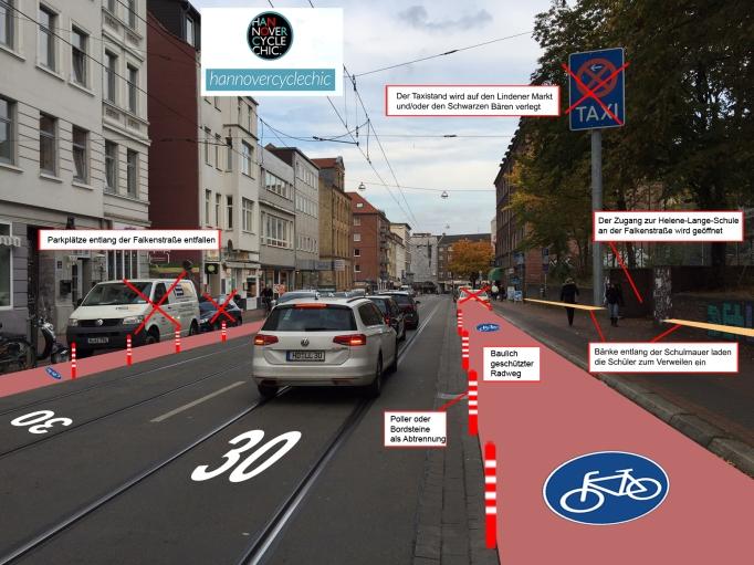 hannovercyclechic Protected Bike Lane auf der Falkenstraße